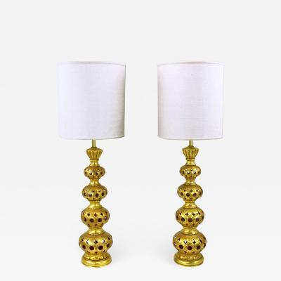 Pair of Nardi Studios Tall Pierced and Gilt Quadruple Gourd Ceramic Table Lamps