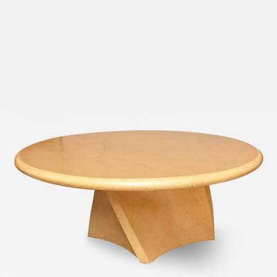Karl Springer A Large American Modern Circular Goatskin Dining Table style of Karl Springer