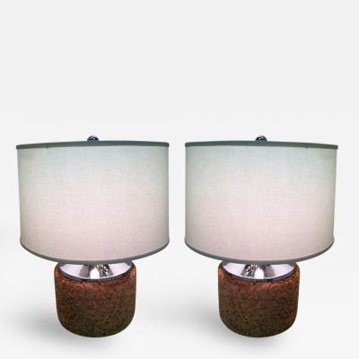Pair Mirror Chrome Cork Lamps