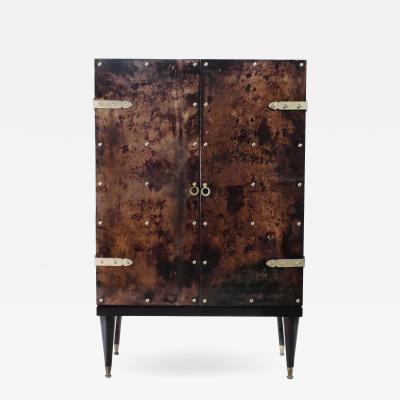 Aldo Tura Bar cabinet in goatskin parchment by Aldo Tura 1960 s
