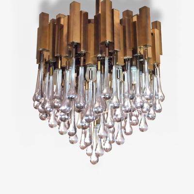 Gaetano Sciolari Brass Chandelier with Teardrop Glass by Gaetano Sciolari