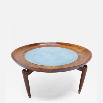 Giuseppe Scapinelli 1960s Scapinelli Brazilian Caviuna and Marble Round Coffee Table