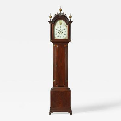 Elnathan Taber Rare Federal Inlaid Tall Case Clock With Works By Elnathan Taber