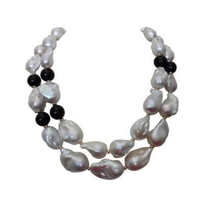 Michael Kneebone Michael Kneebone Double Strand Baroque Pearl Black Onyx Necklace