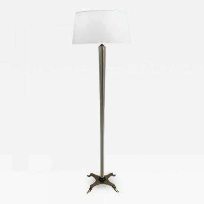 FINE FRENCH ART DECO GLASS AND BRONZE FLOOR LAMP