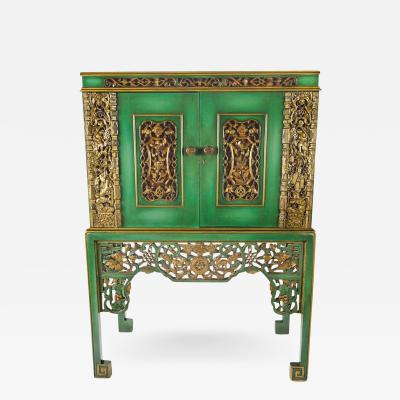 Emerald Green Chinese Cabinet Inset With Gilt Antique Panels c 1950s