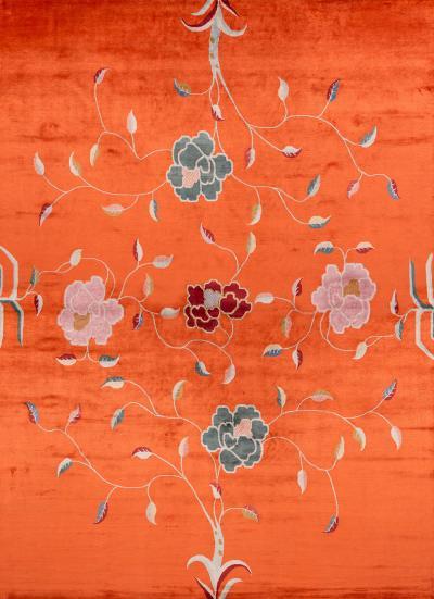 Joseph Carini Carini Contemporary Floral Silk Rug 10 14