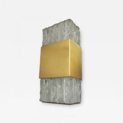 Jean Perzel A FINE FRENCH ART DECO BRONZE AND SLABS GLASS SCONCE BY JEAN PERZEL