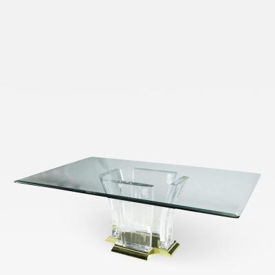 Grand Lucite And Brass Dining Table By Spectrum c 1980s