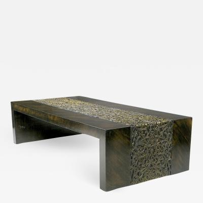 Phyllis Morris Zebrano Gilt Arabesque Coffee Table c 1960s