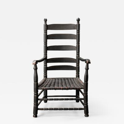 Early William and Mary Painted Five Slat Back Arm Chair