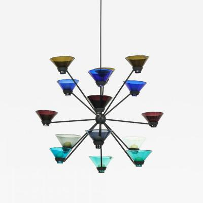 Kaj Franck Glass and Iron Chandelier by Kaj Franck Notsjo for Nuutajarvi Nottsjo