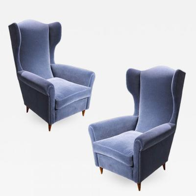 Paolo Buffa Pair of armchairs in blue velvet and wood by Paolo Buffa circa 1950