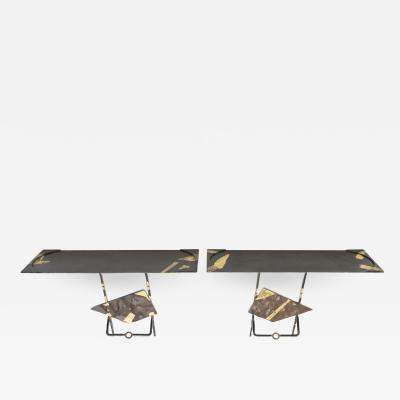 Jean Jacques Argueyrolles Pair of Jean Jacques Argueyrolles console tables Wrought Iron Gold Leaf 1990