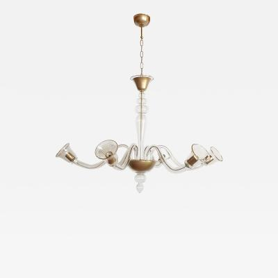 Cenedese Large clear gold Murano glass Mid Century Modern chandelier by Cenedese