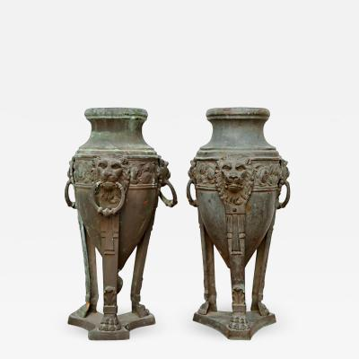 A Pair of English Patinated Bronze Athenienne Form Urns 19th century