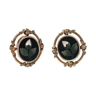 Pair of Antique 14K Pietra Dura Earrings C 1875