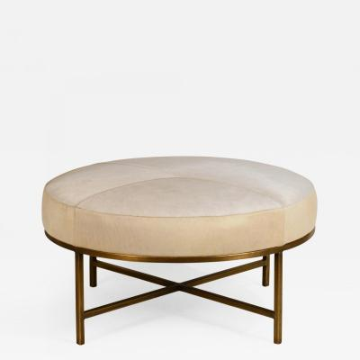 Design Fr res Small White Hide and Patinated Brass Tambour Ottoman by Design Fr res