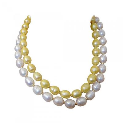 Michael Kneebone Michael Kneebone Golden Pearl White Pearl Baroque Double Strand Necklace