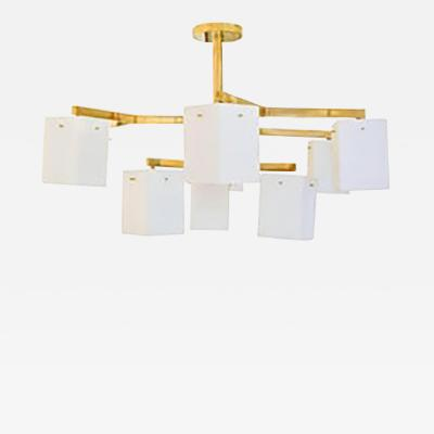 Stilnovo Custom Nine Arm Brass Chandelier in the Manner of Stilnovo