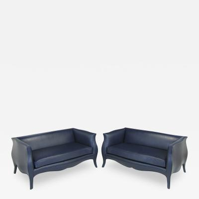 Pair Richard Himmel Lutece Settees In Blue Edelman Calfskin c 1960s