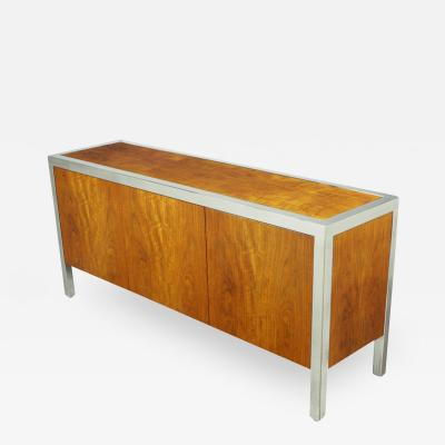 Pace Collection Fiddleback Koa Wood Polished Steel Cabinet c 1970s