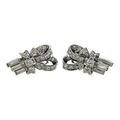 VINTAGE 1950S PLATINUM DIAMOND RIBBON EARRINGS
