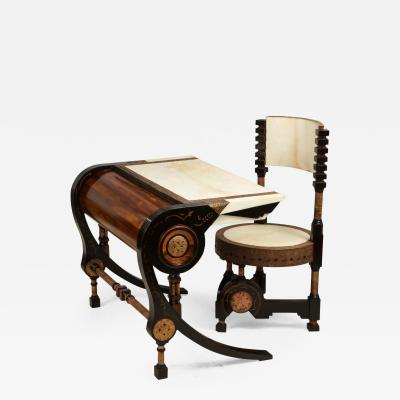 Carlo Bugatti Style Writing Desk with Chair