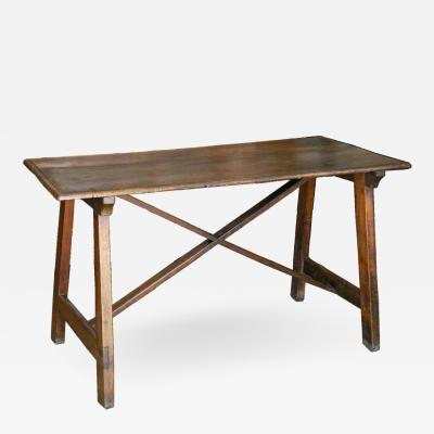 Tuscan Trestle Walnut Farm Table Circa 1780