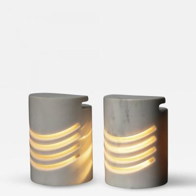 Sirrah Pair of Maris Carrara Marble Table Lamps by Gresleri for SIrrah