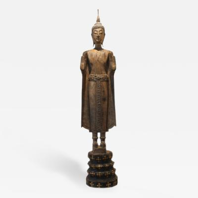 Antique Gilded Standing Buddha from Laos Southeast Asia