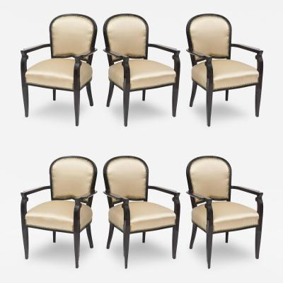 Jules Leleu Rare Set of Six French Late Art Deco Ebony De Macassar Armchairs Jules Leleu