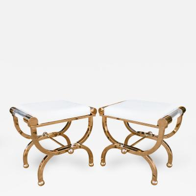 Charles Hollis Jones Brass and Lucite Empire Style Benches by Charles Hollis Jones