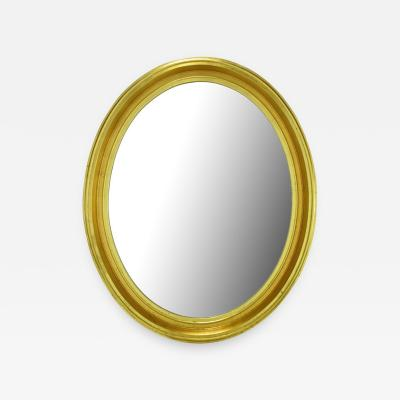 Oval Light Dark Gilded Wall Mirror USA c 1960s