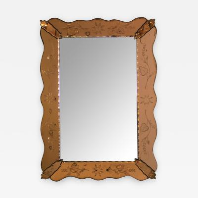 A Shapely Italian 1930s Mirror with Etched Peach Colored Surround