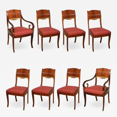 Set of Eight Russian Neoclassic Mahogany and Parcel Gilt Dining Chairs