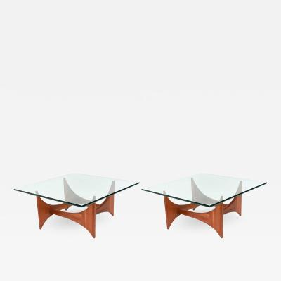 Adrian Pearsall American Modern Pair of Walnut and Glass Low Tables by Adrian Pearsall