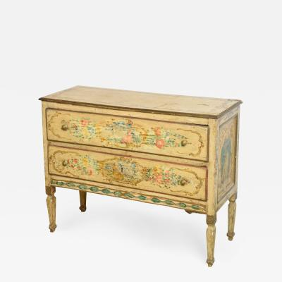 Italian Neoclassic Painted and Parcel Gilt Two Drawer Commode Piedmontese