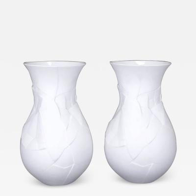 Dror Benshetrit Pair of Rosenthal Studio Line Matte White Vases of Phases