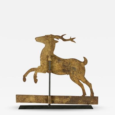 Stag Weathervane with Trememdous Yellow Painted Surface 1840 1870