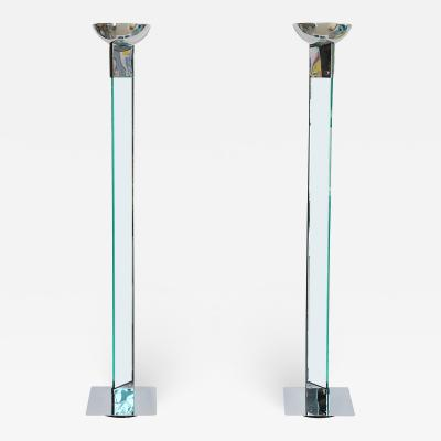 Pair of Polished Chrome and Glass Floor Lamps manner of Fontana Arte