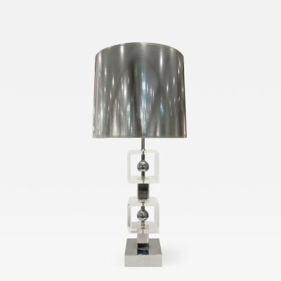 Chic Table Lamp in Lucite and Chrome 1970s