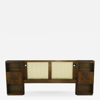 Upholstered King Headboard In Walnut With Block Front Nightstands circa 1970s