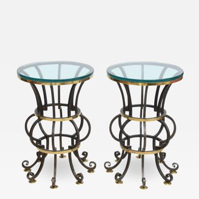 Arturo Pani Pair of Iron and Brass with Glass Top Tables by Arturo Pani