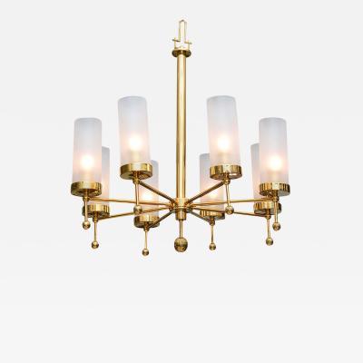Stilnovo Italian Modern Brass and Glass Eight Light Chandelier in the Manner of Stilnovo