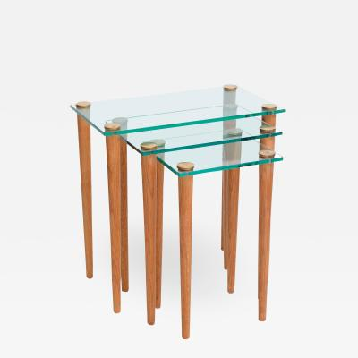 Gilbert Rohde American Modern Set of Walnut Brass and Glass Nesting Tables Gilbert Rohde