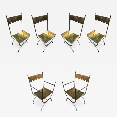 Maison Jansen Maison Jansen set of 6 refined wrought iron french 40s chairs