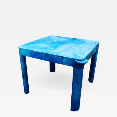 Karl Springer Phenomenal Karl Springer Vibrant Blue Goatskin Game Table