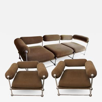 Verner Panton Rare set of one canap and two armchairs by Verner Panton S 420 serie