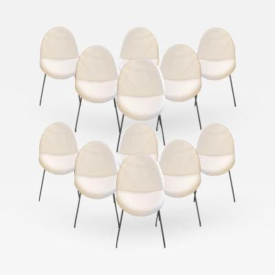 Joseph Andre Motte Set of twelve chairs model 771 by Joseph Andre Motte for Steiner Circa 1954